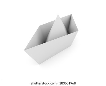Paper boat rendered isolated on white background