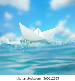 Paper boat sailing on water with waves.