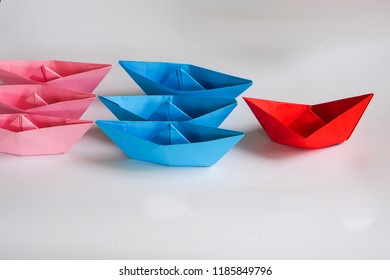 paper boats for business and leadership concept