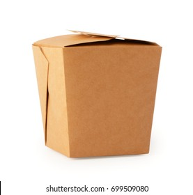 Paper box for food. Closed craft  packaging for fastfood. Cardboard container for lunch, chinese food, noodles, snacks  isolated on white background with clipping path.