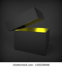 Paper Box with Magic Light. 3d illustration