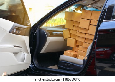 paper box post package of product full in car preparing delivery for customer order, image used for shipment logistic transportation business concept
