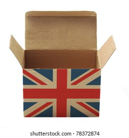 paper box with UK flag isolated on white background