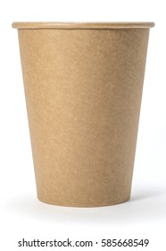 Paper brown cup for coffee or tea, front