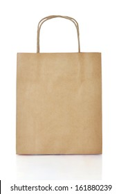 Paper brown  shopping bag isolated on white background. Clipping path included