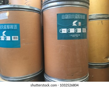 Paper bucket containing menthol crystals,for transportation from China,used as ingredients in the pharmaceutical industry,packaging for chemistry,fertilizer,dry food and more,Bangkok,Thailand,2018.
