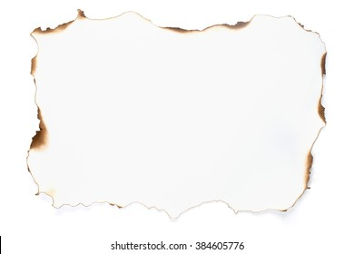 Paper with burned borders isolated on white background.
