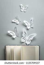 Paper butterflies on open book