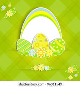Paper card with Easter eggs and flowers, illustration