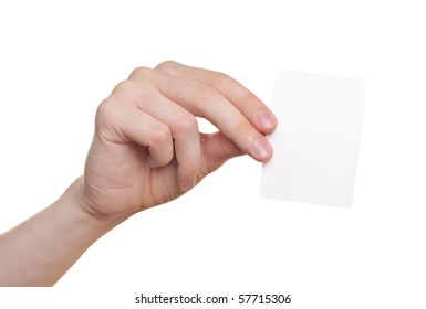 Paper card in man hand isolated on white background