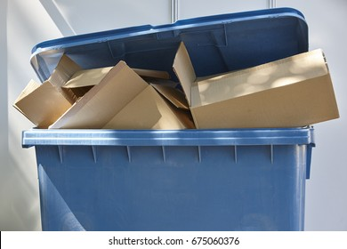 Paper and cardboard trash container. Recycling. Clean cities. Horizontal
