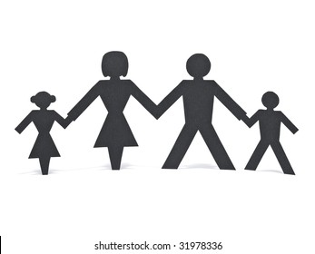 A paper chain family holding hands over a white background.