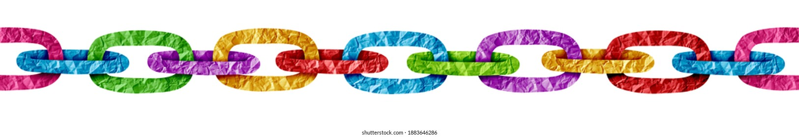 Paper Chain link as an abstract decorative colourful linked rings connected together as a diverse group unified together representing strength and diversity.