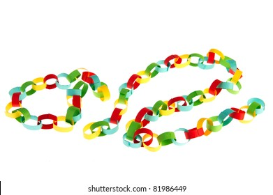 Paper chain in many colors on white background