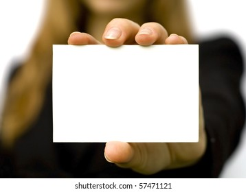 Paper clean sheet in hands in the woman