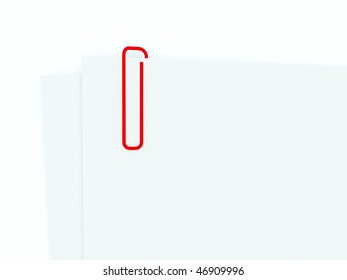 Paper clip with document isolated on white
