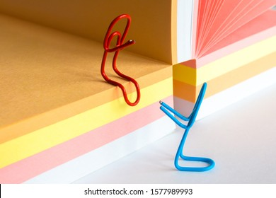 Paper Clips and Blank of Note Papers. Romantic workplace relationship concept, romance at the office concept - Shutterstock ID 1577989993