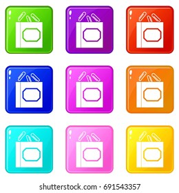 Paper clips box icons of 9 color set isolated  illustration