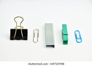 paper clips collection solated on white background.