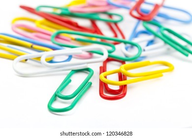 Paper Clips over a white background.