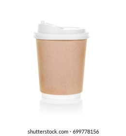 Paper coffee cup with brown clubboard and plastic lid isolate on white background
