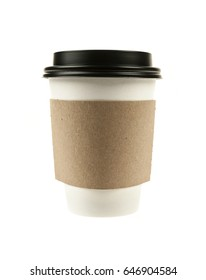 Paper coffee cup with plastic lid and cardboard sleeve isolated on white background