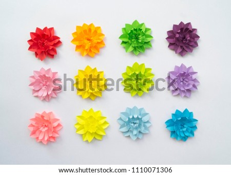 Paper craft flower rainbow decoration concept stock photo edit now paper craft flower rainbow decoration concept flat lay colourful handmade paper flowers on white background mightylinksfo