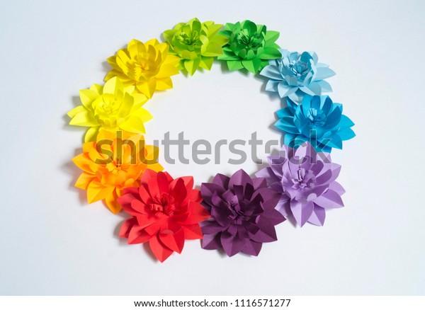 Paper Craft Flower Rainbow Decoration Concept Stock Photo Edit Now