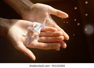 Paper crane in his hands in the light. Magic