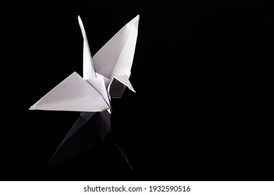 Paper crane on black background. It consists of folding paper without using scissors or glue to obtain figures, many of which could be considered as paper sculptures. Origami of Japanese origin