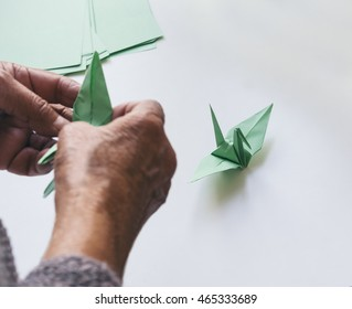 Paper Crane Origami bird with hand fold Art and Craft