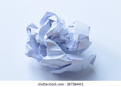 The paper was crumpled on a white background
