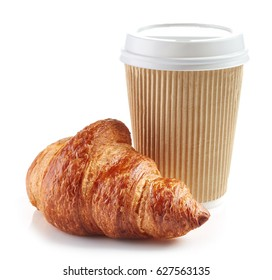 paper cup of coffee and croissant isolated on white background
