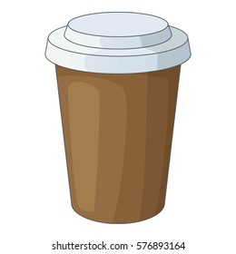 Paper cup of coffee icon. Cartoon illustration of paper cup of coffee  icon for web design