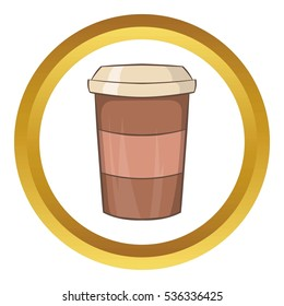 Paper cup of coffee  icon in golden circle, cartoon style isolated on white background