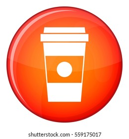 Paper cup of coffee icon in red circle isolated on white background  illustration