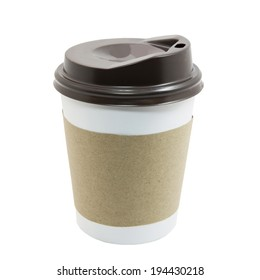 Paper cup of coffee isolated on white with clipping path