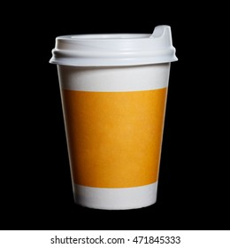 the paper cup of coffee on a black background