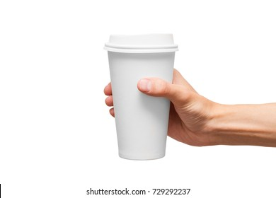Paper cup in hand.