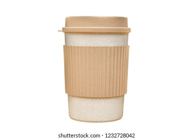 Paper cup of takeaway coffee with clipping path isolated on white background