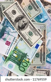 paper currency background - dollars, european and russian money