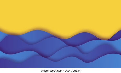 Paper cut background with sea waves