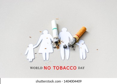 Paper cut of family destroyed by cigarettes. Drugs destroying family concept. Quit smoking for life on World no Tobacco day concept. World no tobacco day. Copy space for advertisers.