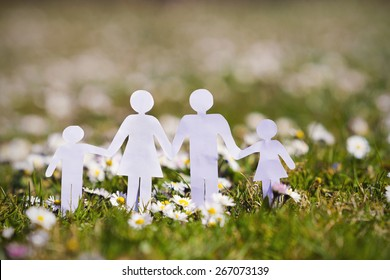 Paper cut of family with flowers background on a green grass.Family Life Insurance.Protecting family, family concepts.