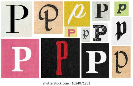 Paper cut letter p. Newspaper cutouts for scrapbooking and crafting