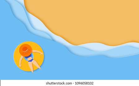 Paper cut sea with girl on rubber ring background. Summer holiday banner.