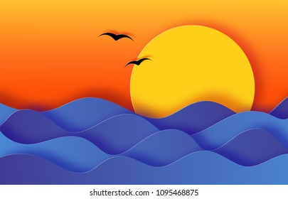 Paper cut sea waves, sunset and birds background