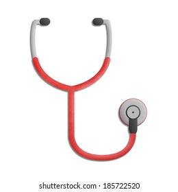the paper cut of stethoscope for examination to health is medical equipment icon