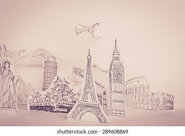 Paper cut of travel (Japan,France,Italy,New York,India,egypt) ( Filtered image processed vintage effect. )