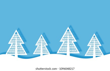 Paper cut Winter landscape background